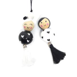 Gelukspoppetjes ''liefde'' black & white