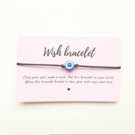 Wish-bracelet ''blue eye'' zwart