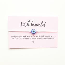 Wish-bracelet ''blue eye'' white