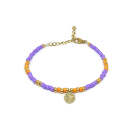 "Armbandje ""colorfull boho"" purple & orange"