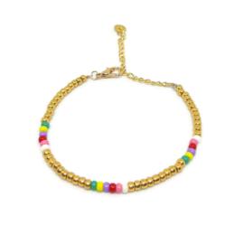 Little beads armbandje ''ontwerp 22'' goud, handmade