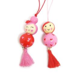 Gelukspoppetjes ''liefde'' pink & red