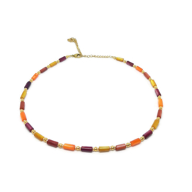 Ketting met schelpkralen & dots ''autumn colors''