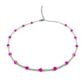 Little beads ketting ''pink stones'' zilver, handmade