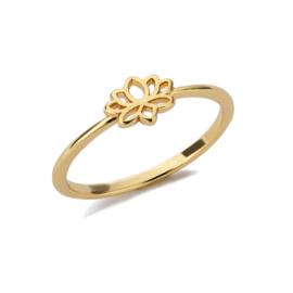 Ring bohemian stainless steel ''tiny lotus'' gold