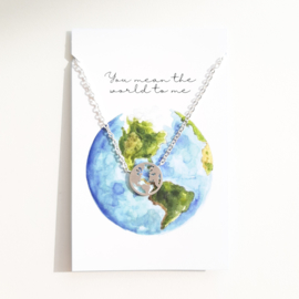 Bedelketting ''the world'' stainless steel silver