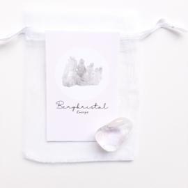 Edelsteen in zakje ''bergkristal''