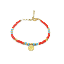 "Armbandje ""colorfull boho"" red & blue"