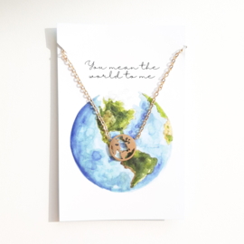 Bedelketting ''the world'' stainless steel gold