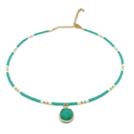 Little beads ketting ''happy colors'' edelsteen bedel, goud