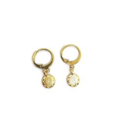 Ringoorbellen met bedel ''mandala coin'' goud