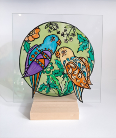 Glasschildering ''parrots''