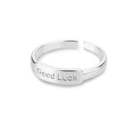Ring stainless steel ''good luck'' silver