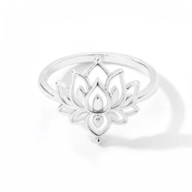 Ring bohemian stainless steel ''lotus'' silver