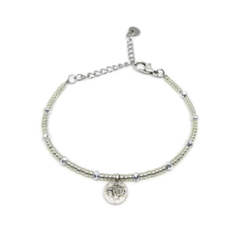 Little beads armbandje ''coins '& silver stones'' zilver