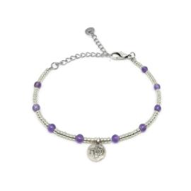 Little beads armbandje ''coins '& ametist'' zilver