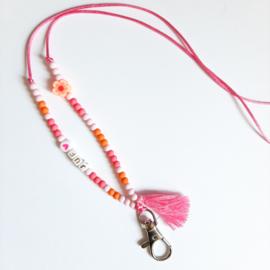 Keycord ''juf'' pink & orange