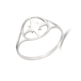 Ring stainless steel ''kompas'' silver