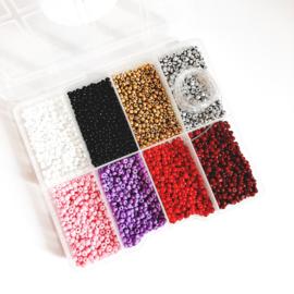 Kralen box ''3mm rocailles'' red colors