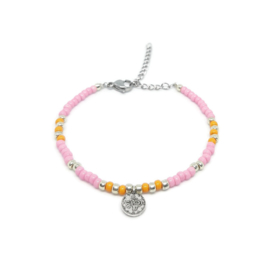 "Armbandje ""colorfull boho"" pink & orange"