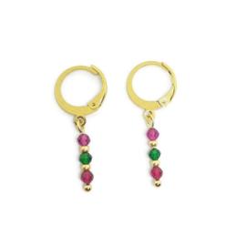 Ringoorbellen tiny gemstones ''jade''