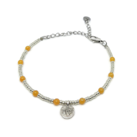 Little beads armbandje ''coins '& yellow jade'' zilver