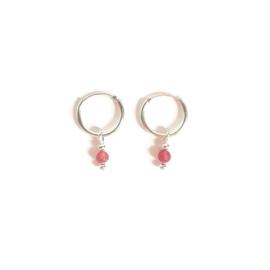Ringoorbellen ''pink amethist'' 925 silver