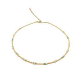 Bohemian beads necklace ''amazonite'' gold