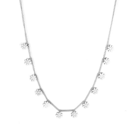 Ketting stainless steel ''tiny flowers'' silver