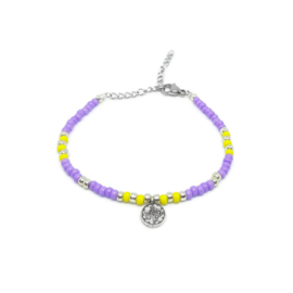 "Armbandje ""colorfull boho"" purple & yellow"