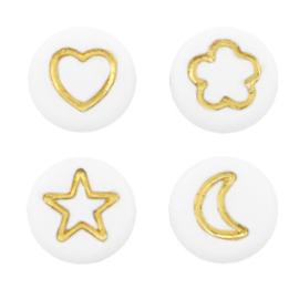 Acryl kralen ''icon mix ''goud 10 stuks