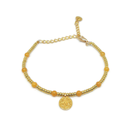 Little beads armbandje ''coins '& yellow jade'' goud