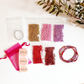 DIY-pakket armbandjes maken ''3mm kralen'' red colors
