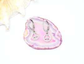 Bedel oorbellen ''peace'' silver