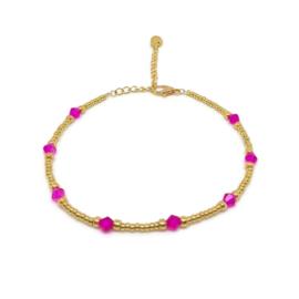 Kralen enkelbandje ''pink stones'' gold, handmade