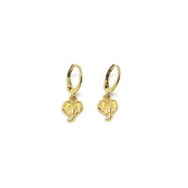 Bedel oorbellen ''tiny elephant'' gold