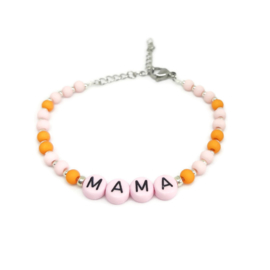 Little beads letter armbandje ''mama'' handmade