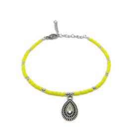 Kralen enkelbandje ''bohemian bedel'' yellow