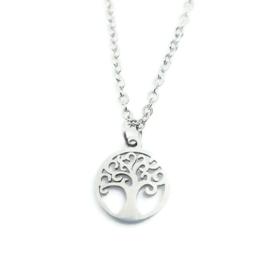 Bedelketting ''tree'' stainless steel, silver