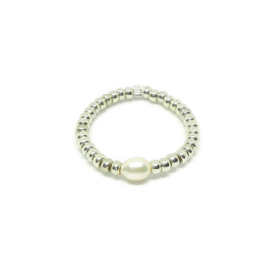 Bead ring ''one pearl'' silver