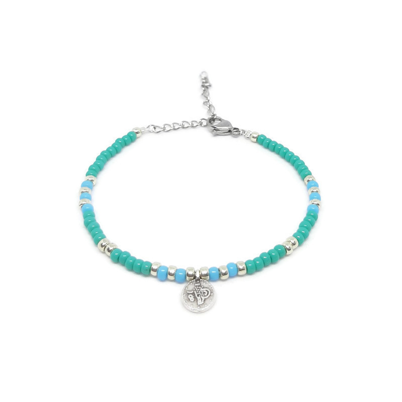 "Armbandje ""colorfull boho"" turkoois & blue"