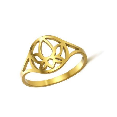 Ring stainless steel ''lotus bloem'' gold