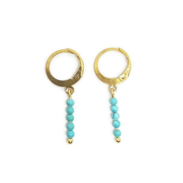 Ringoorbellen tiny gemstones ''turkoois''