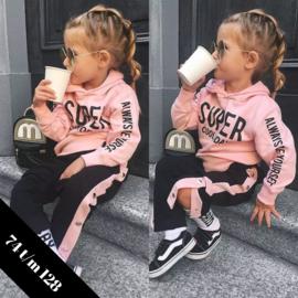 2-delig kledingsetje zwart-roze