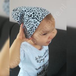 Zwart-wit beanie - panterprint