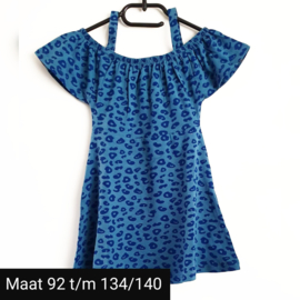 Jurk panterprint blauw