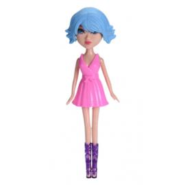 Free and Easy pop blauw haar met roze jurk 26 cm