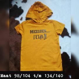 Geel t-shirt met capuchon - meisjes... Ieuww