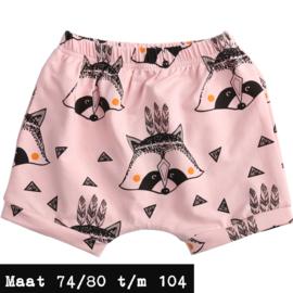 Roze korte broek - wasbeer