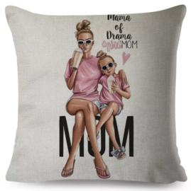 Sierkussenhoes - girlmom (ruwe, geweven stof)